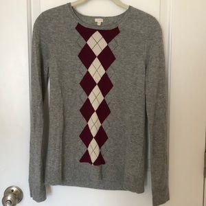 J. Crew sweater w argyle detail